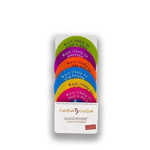 Capabunga GW20 Glasswhere - Identificadores reutilizables de silicona para copas de vino con esloganes, colección de colores brillantes Vajilla de 6 piezas - Brights Colección de colores brillantes.