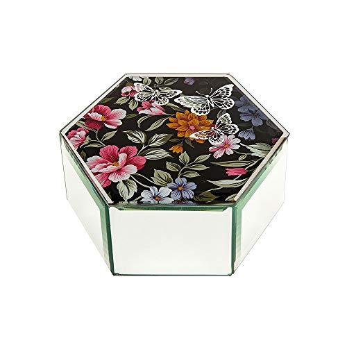 Shudehill Joyero hexagonal de cristal con diseño de mariposa y plata sobre fondo negro