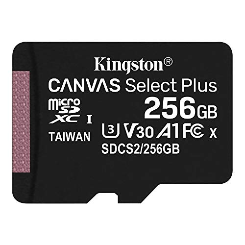 Kingston microSD 256GB Up to 100MB/s UHS-I V30 A1 Nintendo Switch Certified Work on Canvas Select Plus SDCS2/256GB Lifetime Warranty