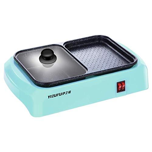 GJJSZ Mini Hot Pot Barbecue Intégré Ménage Électrique Pan Double-Usage Barbecue Machine Dortoir Multifonctionnel Un-Pot Double-Usage Indépendant Interrupteur (Couleur:Bleu)