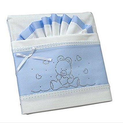 Complet strass 3 pièces Parure de lit pour berceau Poussette Bleu clair