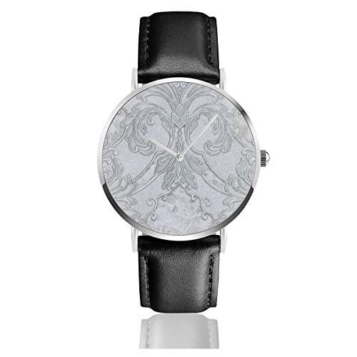 Damast Glitzer Grau Silber Klassisch Casual Fashion Quarzuhr Edelstahl Lederband Uhren