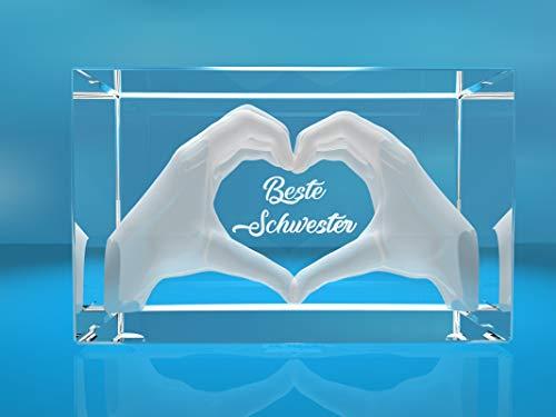 VIP-LASER 3D Glas Kristall mit Gravur I Herz aus zwei Händen mit Text: Beste Schwester! I ideales Geschenk zum Geburtstag, Weihnachten, oder einfach so!