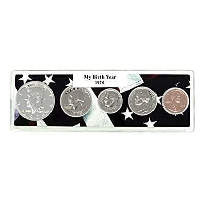 1970-50th Birthday 5 Coin Birth Year Set in American Flag Holder Uncirculated