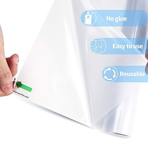 VPCOK Fensterfolie selbsthaftend Blickdicht sichtschutzfolie Fenster Milchglasfolie Fensterfolie für Büro, Zuhause oder Badzimmer, 44.5 * 200cm weiß(MEHRWEG)