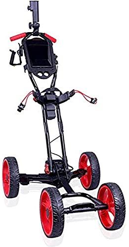 Golf Push Cart Chariots de Golf Golf Pliable électrique |Chariot Push-Pull à 4 Roues avec Porte-gobelet poignée de poussée réglable | Une Seconde pour Ouvrir/Fermer Les Chariots de Golf