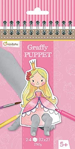 Avenue Mandarine GY008O Malblock Graffy Puppet, 250g Zeichenpapier mit je 12 Motiven x 2, ideal für Kinder ab 5 Jahren, 1 Stück, Prinzen und Prinzessinen