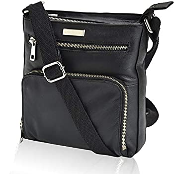 Crossbody Bags for Women - Real Leather Small Vintage Adjustable Shoulder Bag  Charcoal