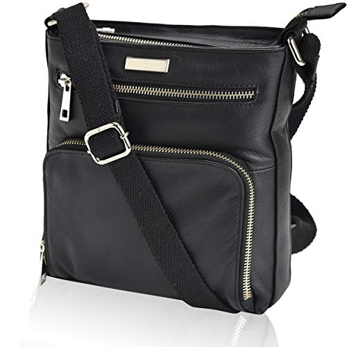 Crossbody Bags for Women - Real Leather Small Vintage Adjustable Shoulder Bag (Charcoal)