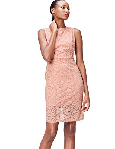 Amazon-Marke: find. Damen Mini-Schlauchkleid aus Spitze, Rosa (Blush), 34, Label: XS