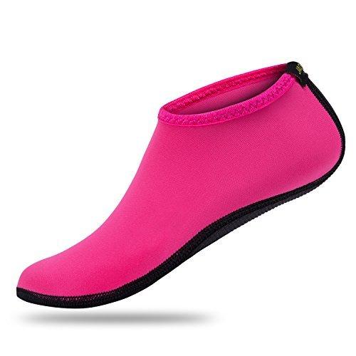 JACKSHIBO Men Women Quick-Dry Water Skin Shoes Aqua Socks for Water Indoor Sports Swim Surf Yoga Exercice Beach Pure Pink 9-10.5 Women/8-9.5 Men
