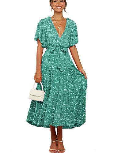 Vestido Mujer Bohemio Largo Verano Playa Fiesta Wrap Maxi Vestidos Cóctel Falda Larga con Cinturón Verde Claro S