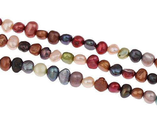 Perlin - 40 Unidades de Perlas de Agua Dulce cultivadas de 5 mm, Multicolor, Grano de arroz, Natural, Barroco, Piedras Preciosas, Perlas,