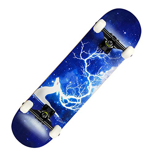Qis.GH Complete Skateboard 31'X 8' 7-Ply Maple Double Kick Concave Cruiser Trick Skateboard, Pro Complete Dance Board for Beginners Kids Teens Adults,Lightning Deer