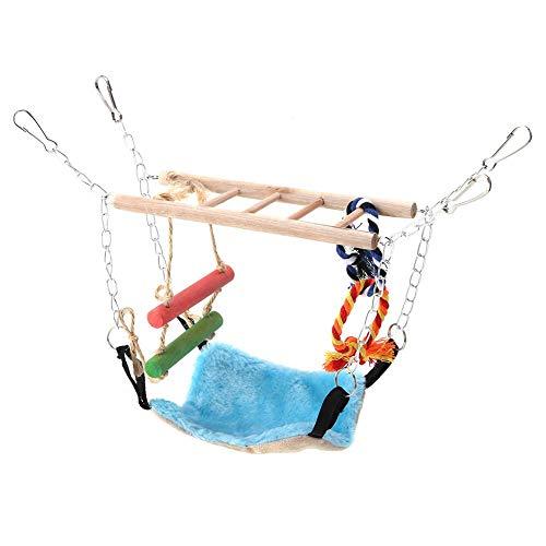 koulate L'oiseau d'hamac de Pont oscillant Joue, l'escalier Bleu d'hamac de Pont de Suspension d'écureuil de Hamster de Petit Animal