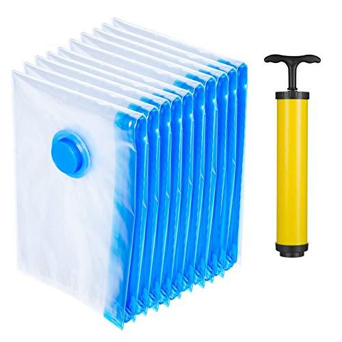 Betos 10 bolsas de almacenamiento de ropa al vacío transparentes de 50 x 70 cm + bomba de mano