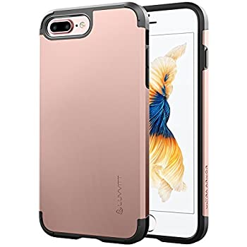 iPhone 8 Plus Case LUVVITT [Ultra Armor] Shock Absorbing Case Best Heavy Duty Dual Layer Tough Cover for Apple iPhone 8 Plus  2017  - Rose Gold