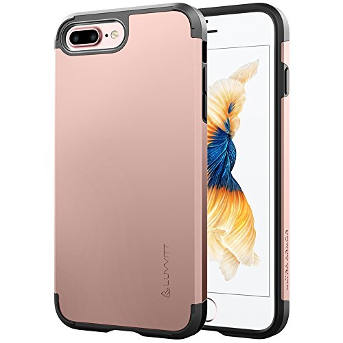 iPhone 8 Plus Case, LUVVITT [Ultra Armor] Shock Absorbing Case Best Heavy Duty Dual Layer Tough Cover for Apple iPhone 8 Plus (2017) - Rose Gold