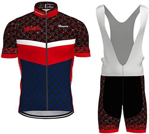 Herren Radtrikot Set Fahrrad Trikot Radsport-Trägerhosen für Herren Kurzarm Langarm + Radhose mit Sitzpolster Radsport-Anzüge