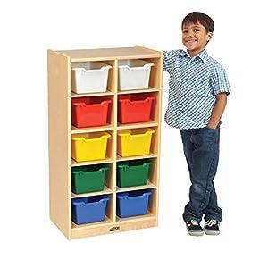 ECR4Kids Birch School Classroom Storage Cubbie Tray Cabinet with Colorful Bins