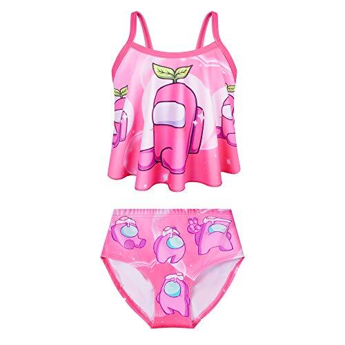 Traje de baño de dos piezas para niñas pequeñas, traje de baño para niños, verano, playa, natación, Rojo rosa, 6 Años