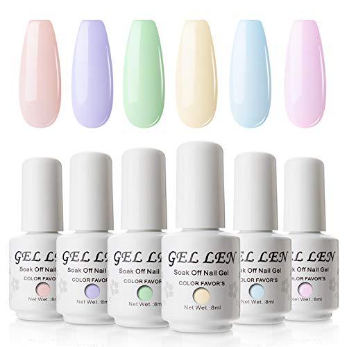 Gellen Vernis Semi Permanent - Gellen Vernis à Ongles Nail Gel UV LED Soak off Manucure Kit 6×8ml, Nouveauté 01 BONBON