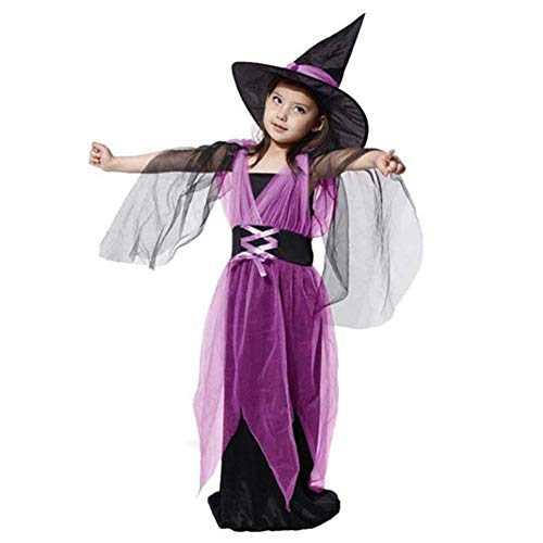 Kinderen Kinderen Meisjes Halloween Heks Dress+Hoed Kinderdag Prinses Feestjurken Carnaval Cosplay Kostuum 140 purple+black