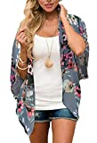 Womens Beach Cover-up Floral Kimono Cardigans Lace Chiffon Loose Tops(Dark Grey,3XL