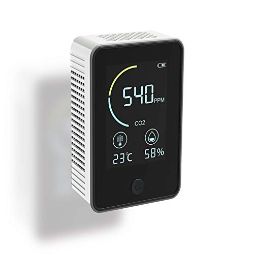 Hezhu CO2 Messgerät Luftqualität CO2 Kohlendioxid Detektor 0-5000PPM Lufttester (Weiß)
