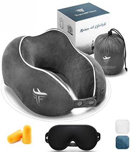 TravelFitter® Reisekissen mit intelligentem Memory Foam (inkl. entspannende Musik) Ergonomisches Nackenkissen stützt Nackenhörnchen geeignet für Reisen im Auto & Flugzeug (schmal, Shadow Grey)