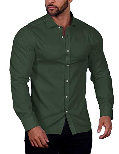 COOFANDY Men's Muscle Fit Dress Shirts Wrinkle-Free Long Sleeve Casual Button Down Shirt (01-Olive Green(Stretch Fabric), Large)