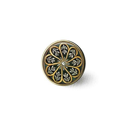 qws Elegante Jugendstil-Brosche Schwarz/Gold – Diamant Bild Schmuck