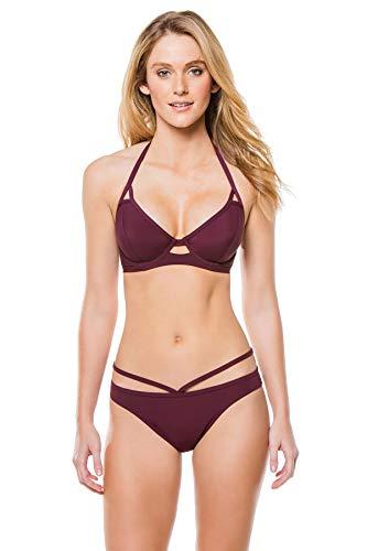 Miss Mandalay Women's Underwire Halter Bra Bikini Top (D-GG Cup) Maroon 30GG