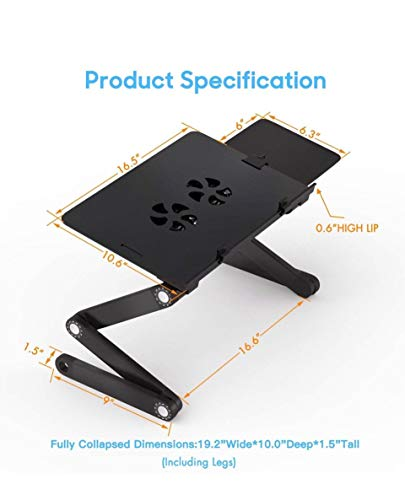 Urban Stuff Adjustable Laptop Stand with Mouse Pad and Cooling Fan | Foldable Laptop Desk Mount for Office, Home, Travel | Couch, Sofa, Bed Workstation | Tray for Book, Ipad, Writing, Portable