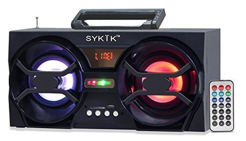 Sykik SP2091BT Boom Box with SD/MMC/USB, FM Radio, Built-in Rechargeable Battery & Remote Control