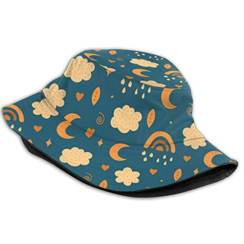Retro Rainbow Cloud Stars Raindrops Leaves Moon Womens Men Fisherman Hat,Breathable Packable Foldable Bucket Hats,Portable Outdoor Reversible Sun Caps for Fishing Hunting Hiking Camping Beach Golf
