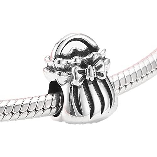 LISHOU 925 Sterling Silver Femmes Voyage Sac À Dos Sac À Main Perles Charme Rose Zircon Carré Sac Charmes Pour Bracelet Bracelet Fine Bijoux D1