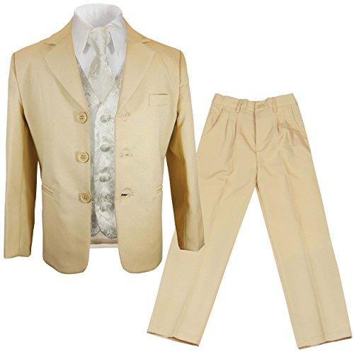 Paul Malone - Jungen Anzug/Kinder Anzug festlich beige + Ivory Hochzeit Weste + Krawatte 18