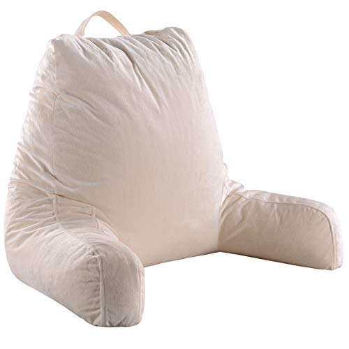 Cheer Collection Foam-Filled Reading and Gaming Pillow with Armrest and Washable Velour Cover, Ivory
