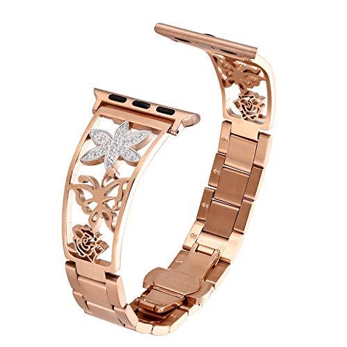 AILONS - Correa de repuesto para Apple Watch, 38 mm/42 mm, acero inoxidable, con cierre de metal, para iWatch Apple Watch Serie 4 3 2 1, longitud de la correa 15 cm-23 cm