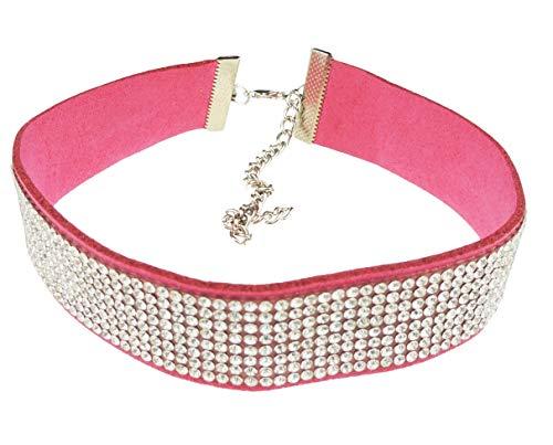 Glamour Girlz Damen Gothic Retro Punk Lace Up Diamante Kristall Kragenchoker Halskette (Rosa Raspberry)