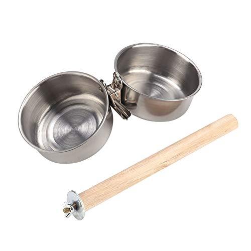 Jadeshay Pet Parrot Feeding Bowl, große Edelstahl-Futterwasser-Futterschale Holzständer Papageien-Feeder Vogelkäfig-Zubehör