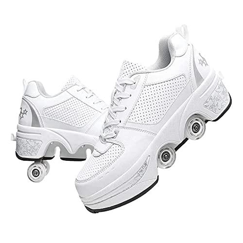 XWZH Zapatillas con Ruedas Doble Rodillo Zapatos De Skate Zapatos Invisible De Polea De Zapatos Zapatillas De Deporte Luz Zapatos Zapatos Multiusos, Niños Zapatos con Ruedas,White-38