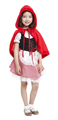 GIFT TOWER Déguisement Petit Chaperon Rouge Enfant Fille Halloween Costume Cosplay Théâtre Spectacle 3-4ans