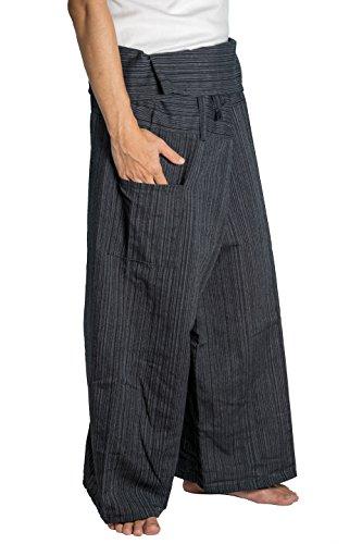 Artiwa Baumwolle Damen Herren Fisherman Wrap Pants Casual Yoga Hose mit Taschen, schwarz