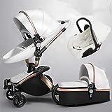 Poussette bébé peut s'asseoir inclinable lumière haute paysage poussette pliante 0-6 mois choc voiture de bébé White1