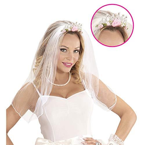 Widmann 07063 - Tiara mit Brautschleier, mit Rosen und Diamanten, für Erwachsene, Diadem, Kopfschmuck, Accessoire, Junggesellinnenabschied, Hochzeit, Party, Karneval, Motto Party