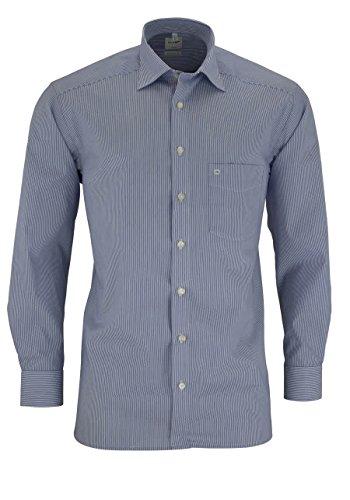 OLYMP Herren Hemd Comfort Fit Langarm, S6 mittelblaue Streifen, 42