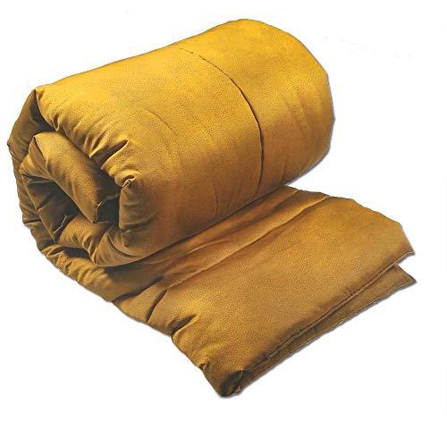 Borbonese - plaid imbottito trapuntato borbonese 135x190 cm in raso mise senape