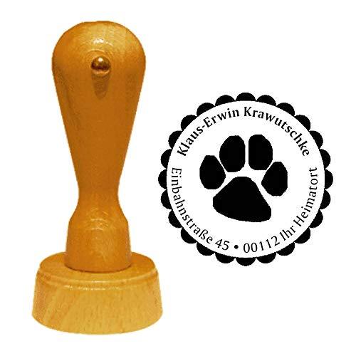 Stempel Adressstempel « TATZE » Durchmesser ca. Ø 40 mm - mit persönlicher Adresse und Motiv - Tierheim Tierarzt